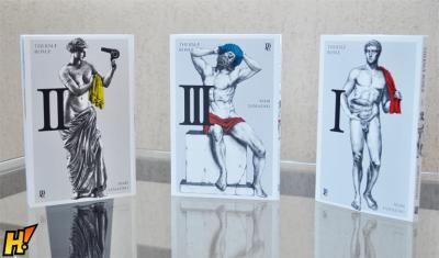 Os três primeiros volumes da edição nacional de Thermae Romae