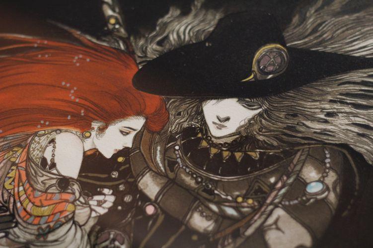 Detalhe de obra de Yoshitaka Amano