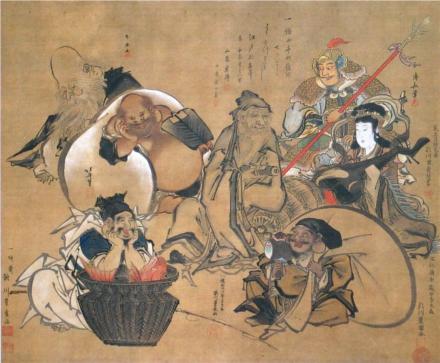 Pintura colaborativa de Hokusai Katsushika 葛飾北斎 (1760-1849),  Utagawa Kunisada 歌川 国貞 (1786-1865), Utagawa Toyokuni 豊国 (1769-1825), Torii Kiyonaga 鳥居清長 (1752-1815) e outros