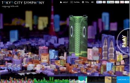 Projeções de luzes coloridas dão movimento à cidade