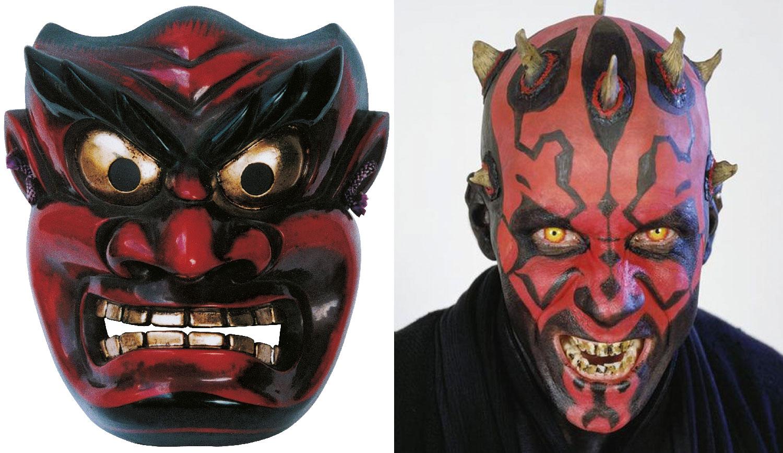 A tatuagem de Darth Maul e a tradicional máscara oni japonesa (representando o ogro Ura): vermelho e preto para simbolizar as forças demoníacas