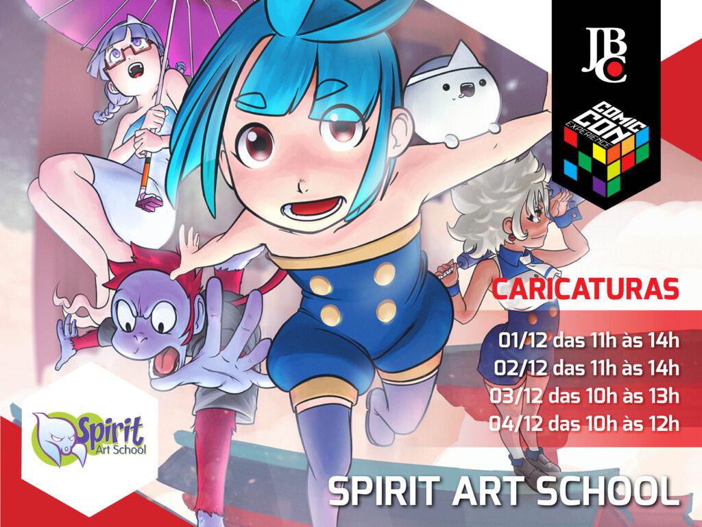 Caricaturas em mangá com a escola Spirit Art School, no estande da Editora JBC