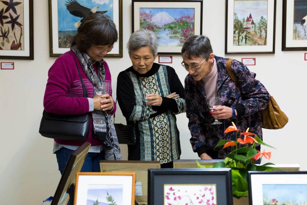 Exposição de oshibana com quadros produzidos pela artista plástica Alice Imai e suas alunas