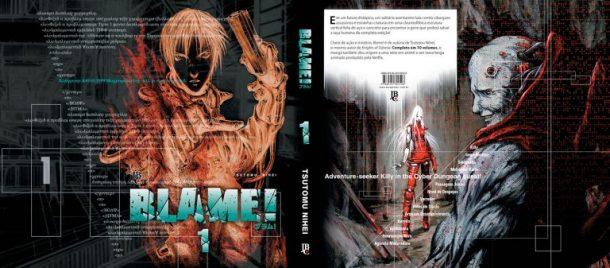 Sobrecapa do mangá Blame! publicado no Brasil pela Editora JBC