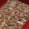 Sushi prensado de robalo, com gengibre curtido