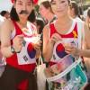 Torcedoras coreanas em dia de jogo entre Coreia e Bélgica, em São Paulo