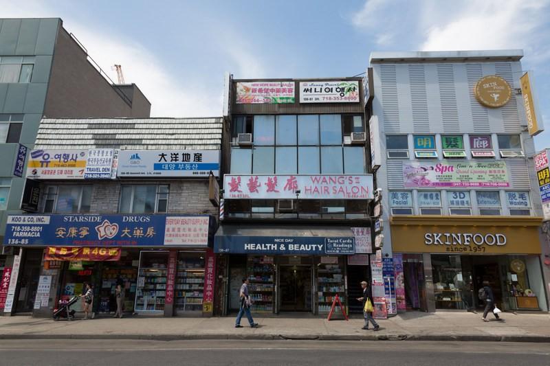 Tipica fachada de lojas em Flushing