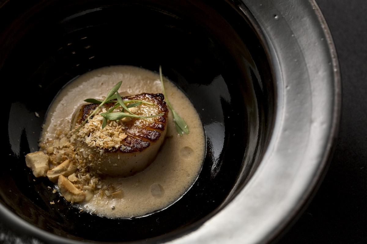 Vieira com creme de umeboshi, castanha de caju e óleo de coco do chef Caio Ottoboni