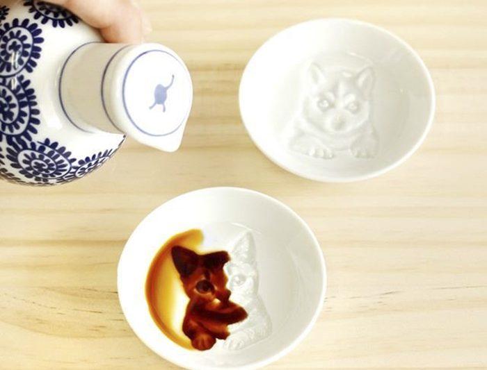 pratos com pintura escondida_gato