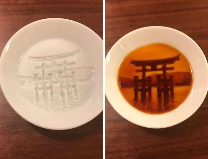 pratos com pintura escondida shoyu torii antes e depois