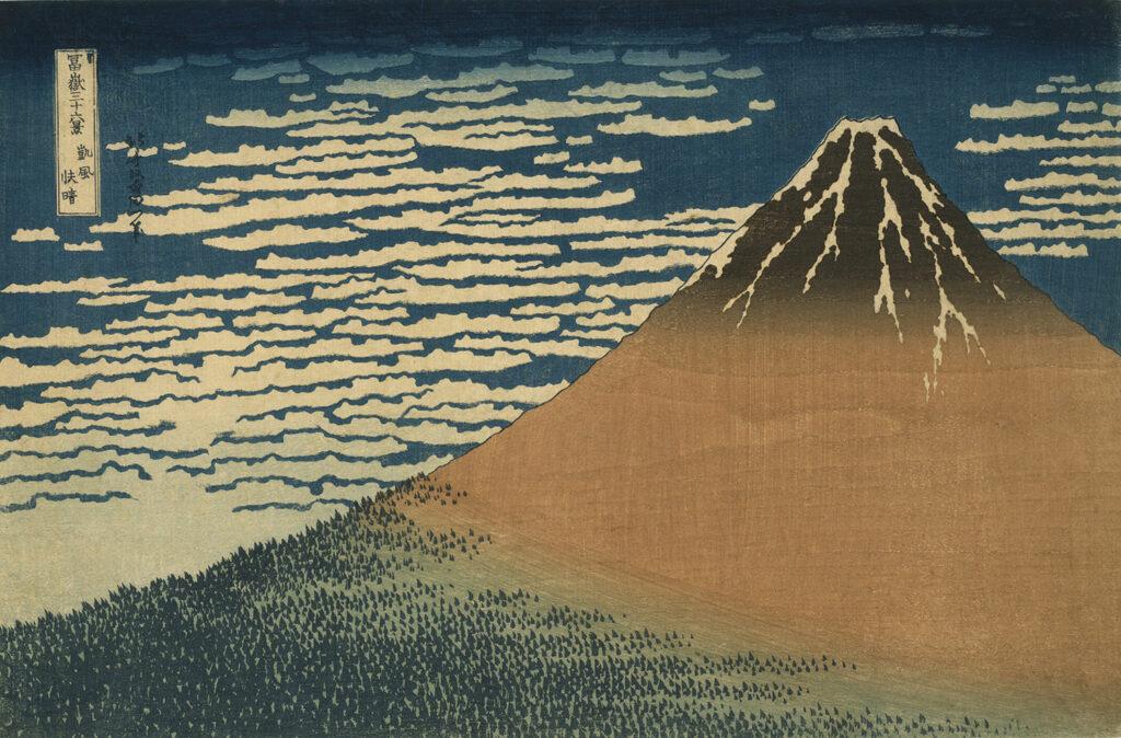 Trinta e seis vistas do Monte Fuji – Um Lindo Dia de Brisa, por Katsushika Hokusai