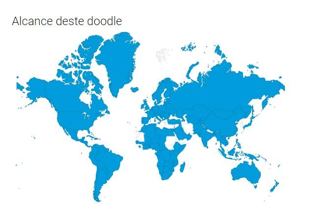 Para se ter uma ideia, a homenagem tem alcance nas páginas do buscador destes países marcados com a cor azul