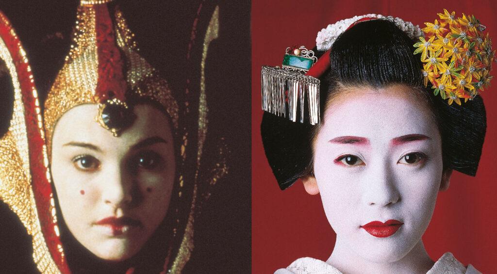 Detalhes da maquiagem de uma gueixa de verdade e da rainha Amidala: base branca, lábios vermelhos e penteados elaborados