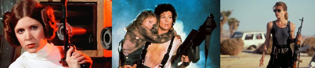 Heroínas em ação: Leia (A Guerra nas Estrelas), Ellen Ripley (Alien) e Sarah Connor (O Exterminador do Futuro)
