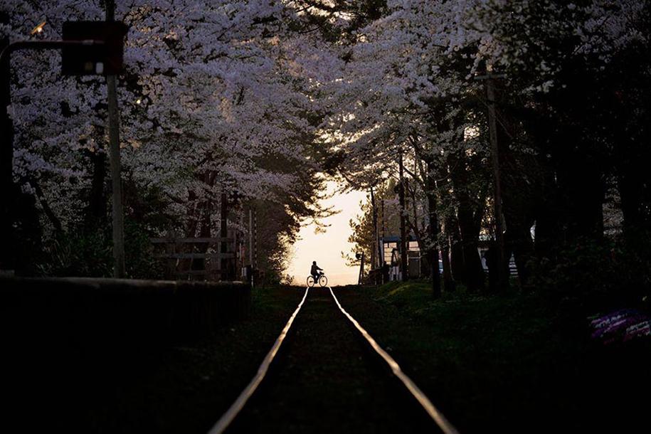 Foto de Sho Shibata, na linha de trem Tsugaru, em Aomori
