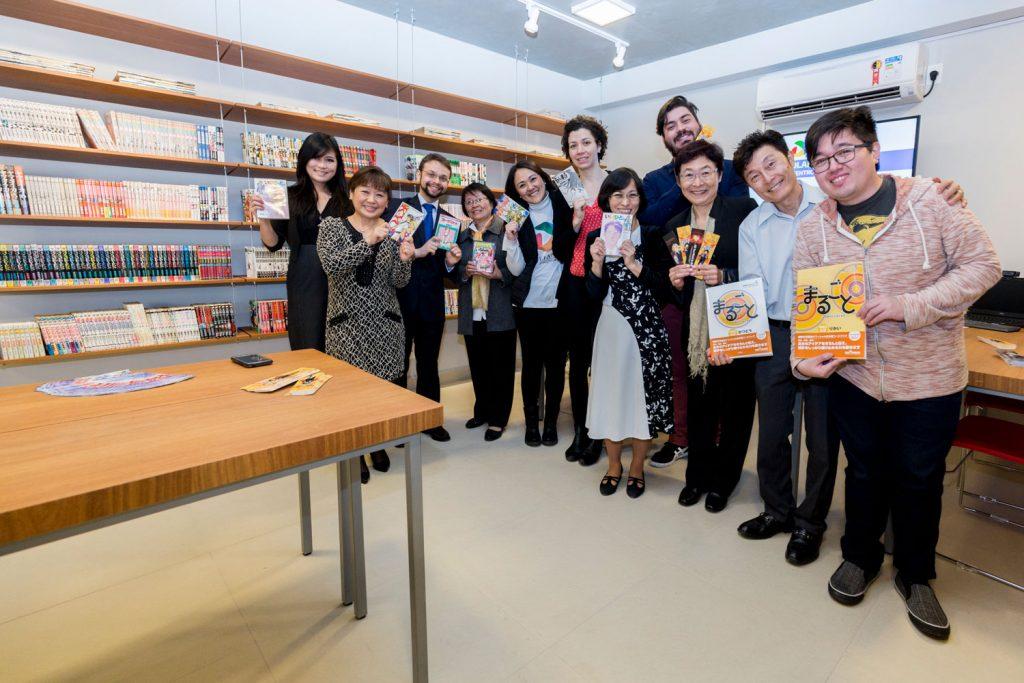 Mangás doados pela Editora JBC para a biblioteca da Aliança Cultural Brasil-Japão