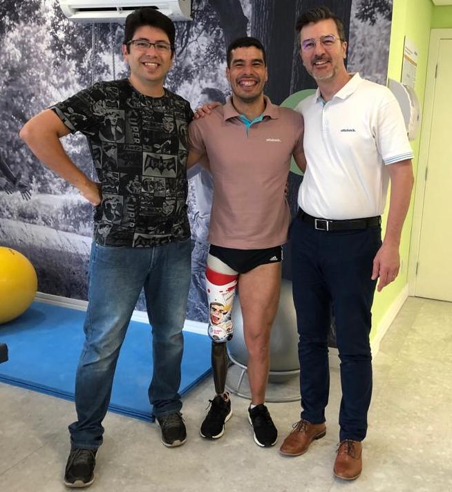 Michel Borges, Daniel Dias e  Emerson Bovo, técnico da Ottobock