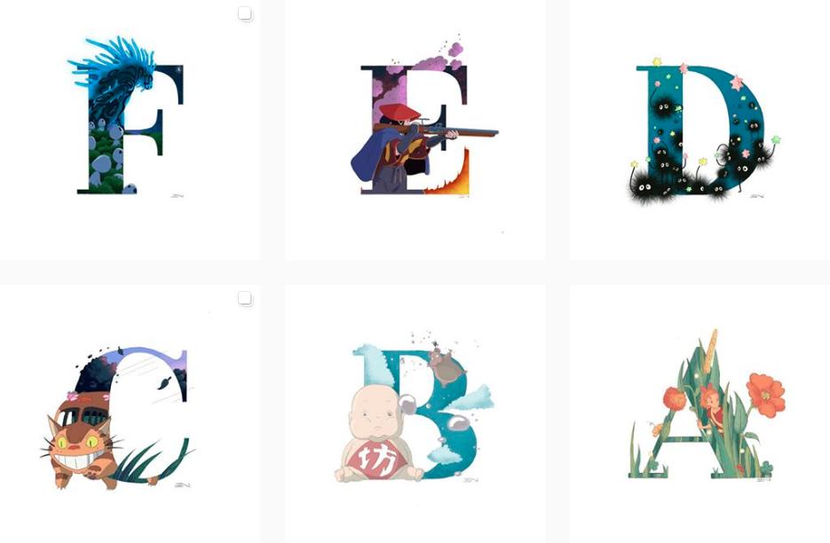 alfabeto a a z ghibli